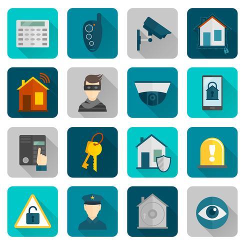 Ícones de segurança em casa planas vetor