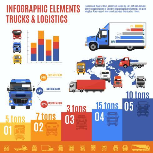 Conjunto de infográfico de caminhão vetor