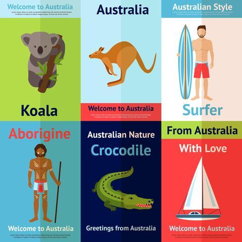 Conjunto de Poster Mini Australia vetor