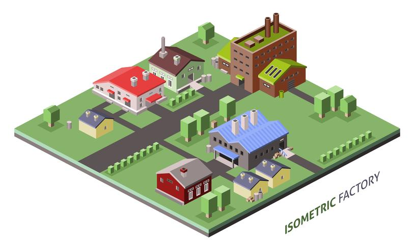 Edifícios de fábrica isométrica vetor