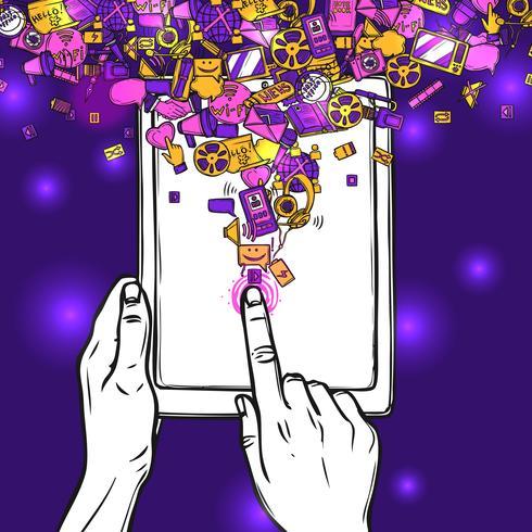 Conceito de comunicação com Tablet vetor