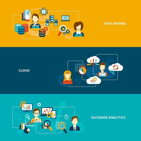 Conjunto de banners de análise de banco de dados vetor