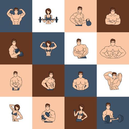 Linha plana de musculação ginásio fitness ícones vetor