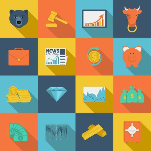 Finanças troca ícones planas vetor