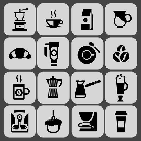 Conjunto de ícones pretos de café vetor