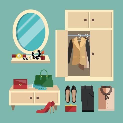 Conjunto de roupas de mulher vetor