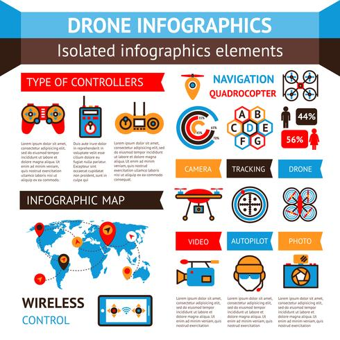Conjunto Inforográfico de Drone vetor