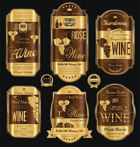 Rótulo de vinho dourado de luxo vetor