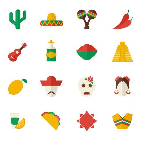 Conjunto de ícones plana do México vetor
