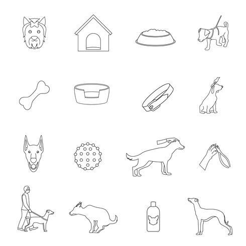 Contorno de ícones de cão vetor