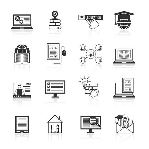 Ícones de educação on-line preto vetor