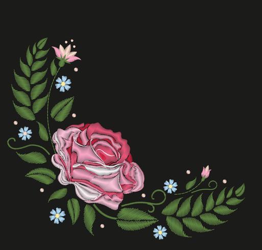 Flores rosas isoladas no fundo preto. Ilustração vetorial Padrão de linha de pescoço popular bordado. vetor