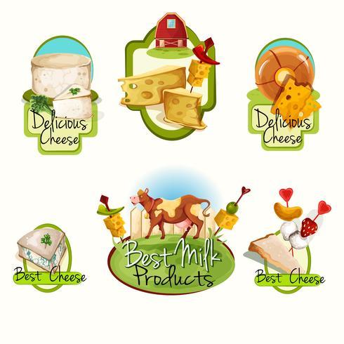 Conjunto de rótulos de queijo vetor