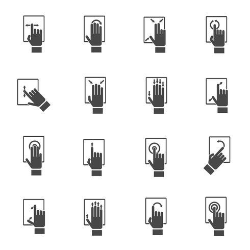 Mão, tocando, tela, ícones vetor