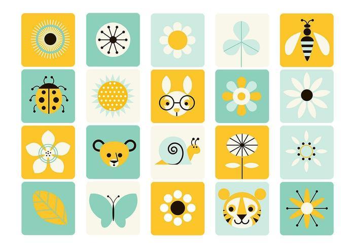 Pacote do vetor do ícone da primavera