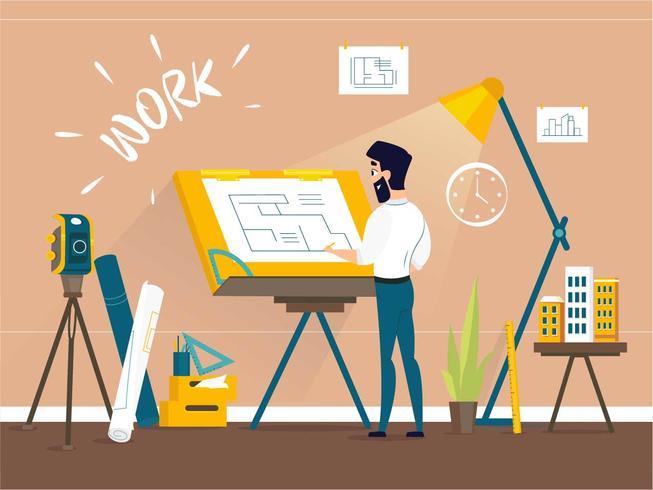 Homem, arquiteta, desenho, casa, projete planta baixa, em, desenhista, estúdio, com, ajustável, tábua prancheta, escrivaninha vetor