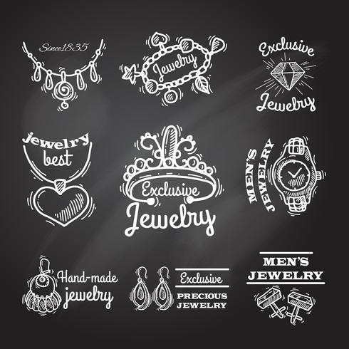 Emblemas de lousa de jóias vetor