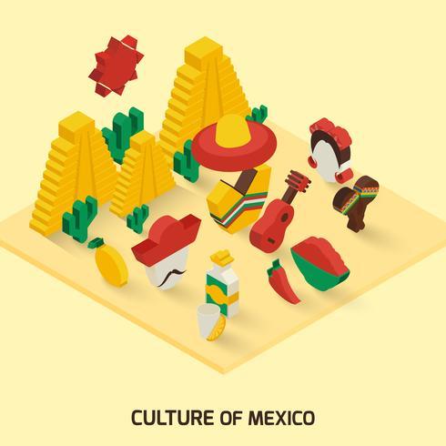 Ícone mexicano isométrico vetor