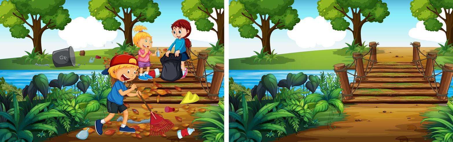Antes e depois de limpar o parque vetor