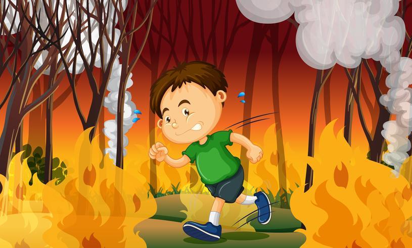 Um garoto preso em um incêndio florestal vetor