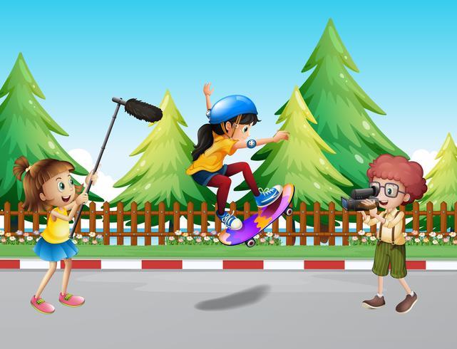 Crianças, tiro, vdo, de, menina, skateboarding, parque vetor