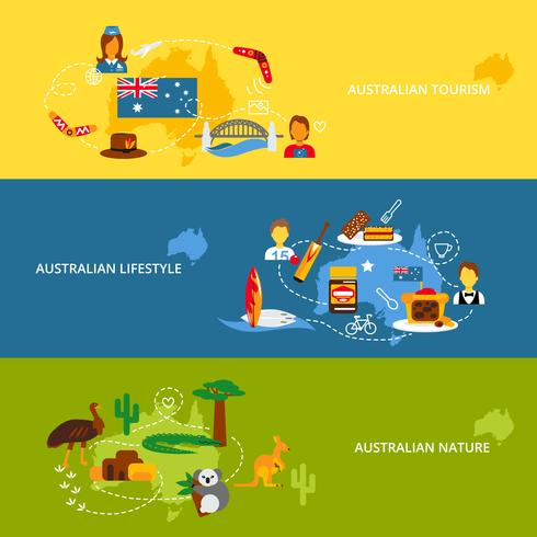 Conjunto de faixa plana de Austrália vetor