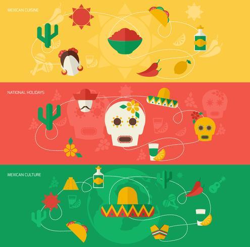 Conjunto de bandeira plana do México vetor