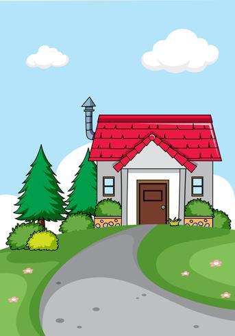 Um, simples, casa, fundo vetor