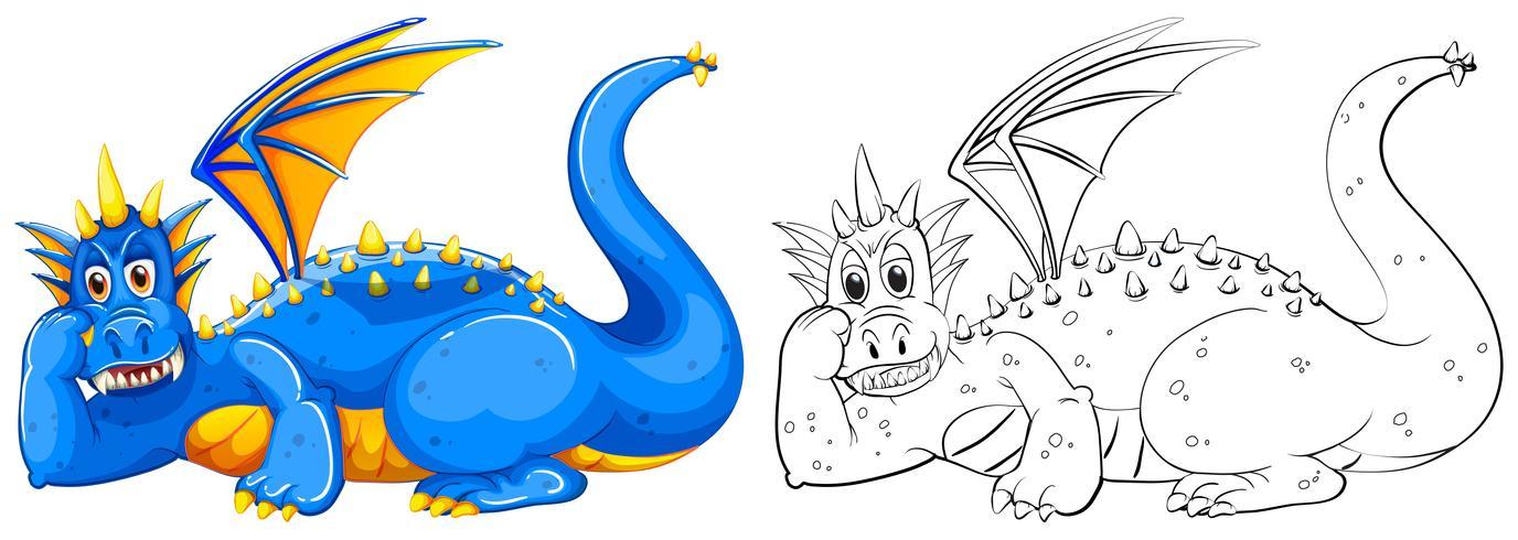 Doodle de animal para dragão selvagem vetor