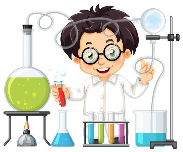 Um experimento químico no laboratório vetor