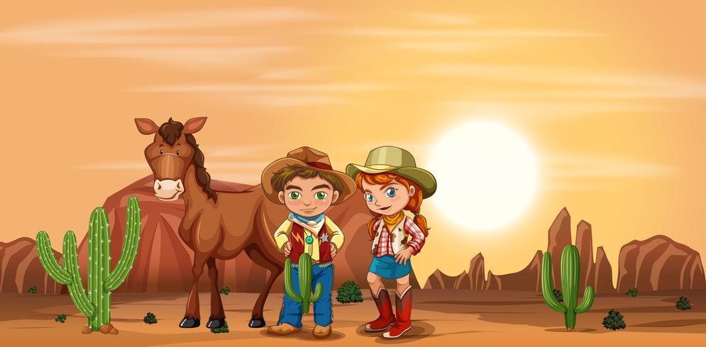 Crianças no deserto vetor