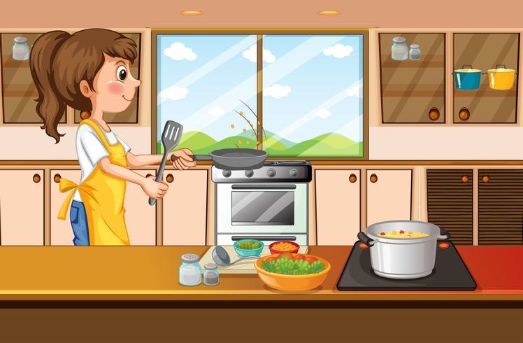 Mulher, cozinhar, em, cozinha vetor