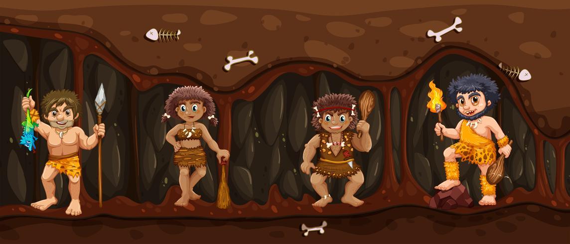 Homem das cavernas dentro da caverna escura vetor