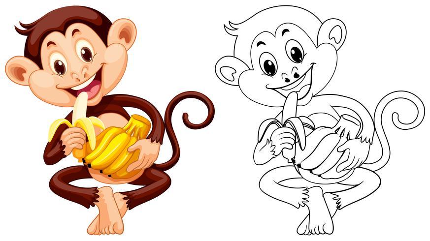 Contorno animal para macaco comendo banana vetor