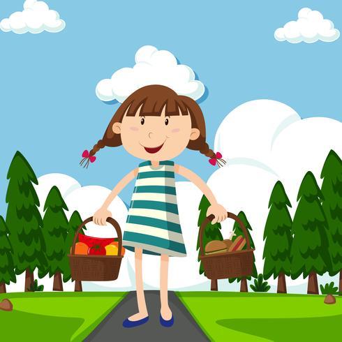 Menina feliz com cestas cheias de comida no parque vetor
