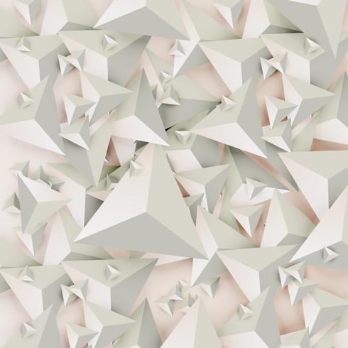 Triângulos 3D abstratos sobre fundo claro, ilustração vetorial vetor