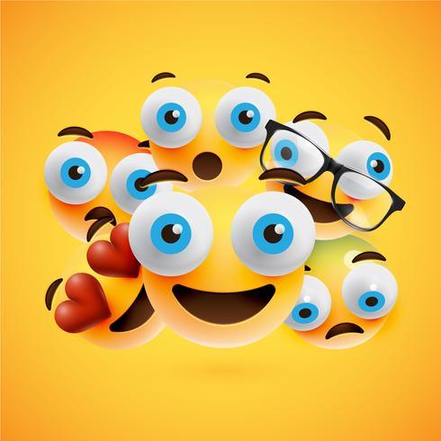 Smiley amarelos diferentes sobre fundo amarelo, ilustração vetorial vetor