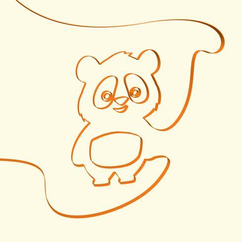 3D linha art panda animal ilustração, ilustração vetorial vetor