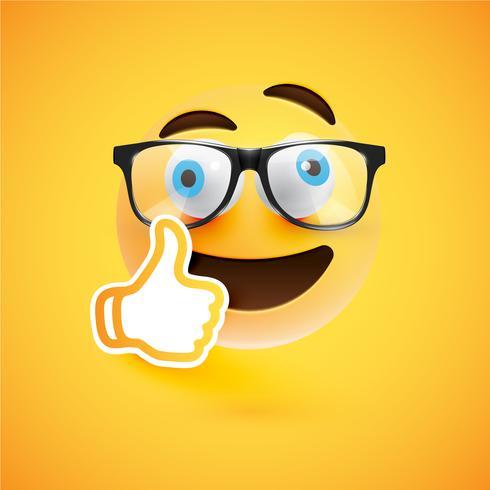 Emoticon com polegares para cima, ilustração vetorial vetor