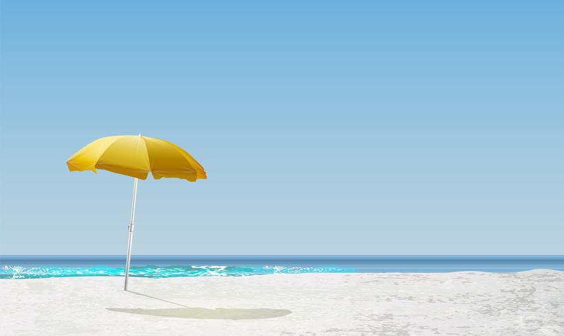 Paisagem realista de uma praia com pôr do sol / nascer do sol e um guarda-sol amarelo, ilustração vetorial vetor