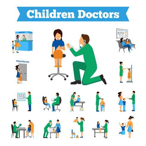 Conjunto de médico de crianças vetor