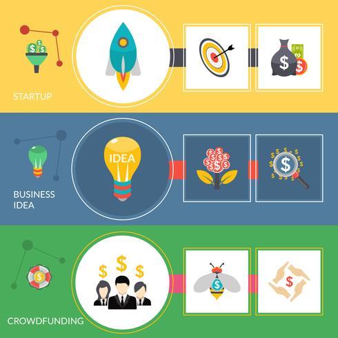 Conjunto de bandeiras horizontais planas de crowdfunding de inicialização vetor