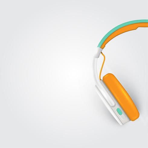 Fones de ouvido realistas, com fios em um fundo colorido, ilustração vetorial vetor