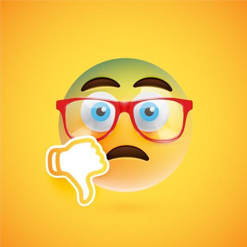 Emoticon com os polegares para baixo e óculos, ilustração vetorial vetor