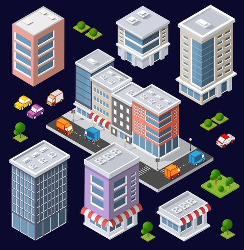 Conjunto de edifícios isométricos modernos vetor