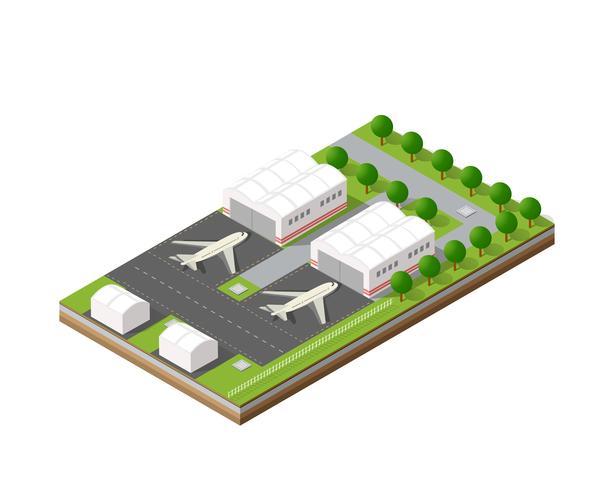 Aeroporto da cidade com transporte vetor