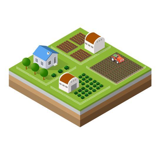 Fazenda conjunto de casas vetor