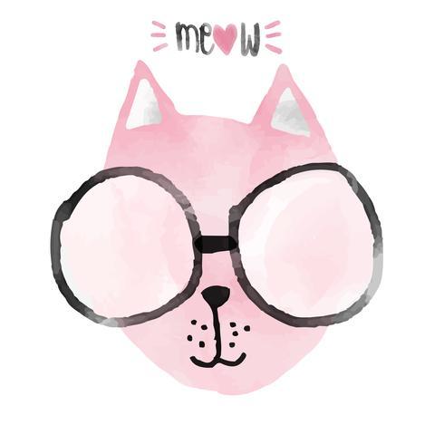 idéia de gato engraçado rosa aquarela para cartão vetor