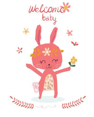 cartão de chuveiro de bebê com coelho bonito dos desenhos animados vetor