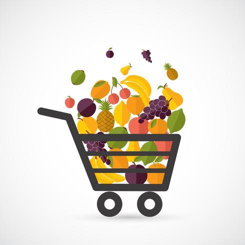 Carrinho de compras com frutas vetor